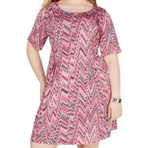 Plus Size NY Collection Fit & Flare Dress Pink 1XP